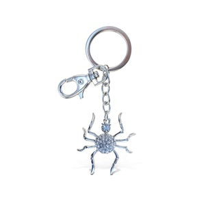 Puzzled Sparkling Charms Silver Metal Spider Keychain