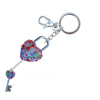 Puzzled Sparkling Charms Colorful Heart Lock and Key Keychain