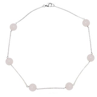 DaVonna Sterling Silver 12mm Round Rose Quartz Gemstone Tin Cup Chain Necklace 18""