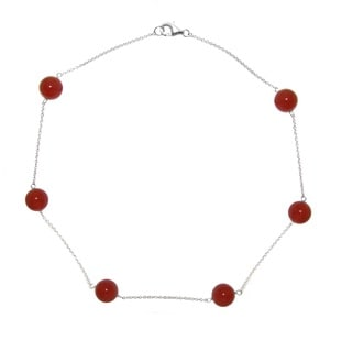 """DaVonna Sterling Silver 12mm Round Red Agate Gemstone Tin Cup Chains Necklace 18"""""""