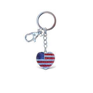 Puzzled American Heart Sparkling Charm