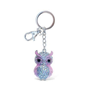 Puzzled Sparkling Charms Pink Owl Keychain