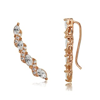 Icz Stonez Sterling Silver Cubic Zirconia Twist Crawler Hook Earrings