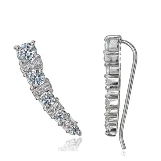 Icz Stonez Sterling Silver Cubic Zirconia Graduating Crawler Hook Earrings