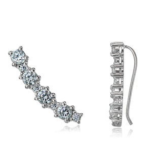 Icz Stonez Sterling Silver Round Cubic Zirconia Curved Crawler Hook Earrings