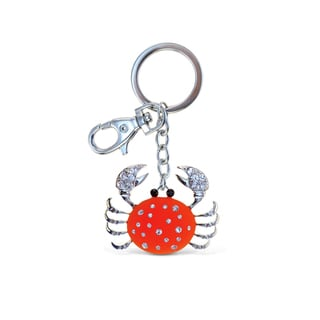 Puzzled Sparkling Charms Glowing Red Metal Crab Keychain