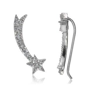 Icz Stonez Sterling Silver Cubic Zirconia Shooting Star Crawler Hook Earrings