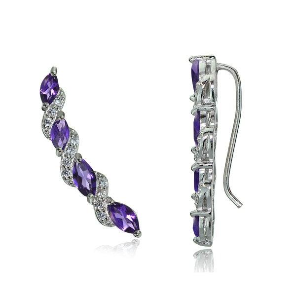 Glitzy Rocks Sterling Silver Gemstone and White Topaz Twist Crawler Hook Earrings. Opens flyout.