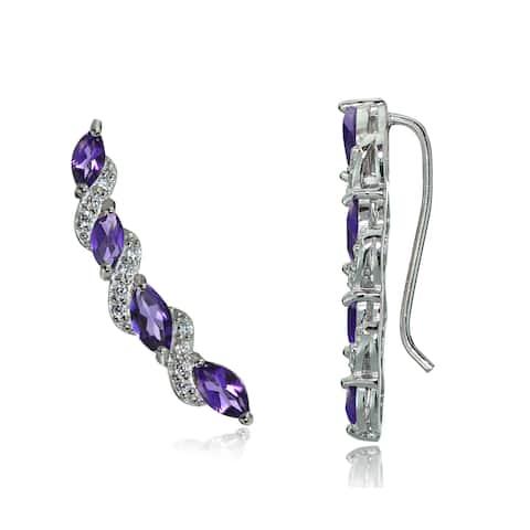 Glitzy Rocks Sterling Silver Gemstone and White Topaz Twist Crawler Hook Earrings