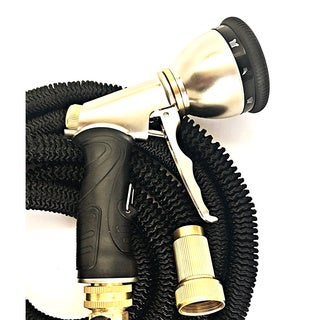 Black Extra Durable Triple Latex Core 75 ft. Expandable Garden Water Hose with Brass Fittings, and 9-function Sprayer