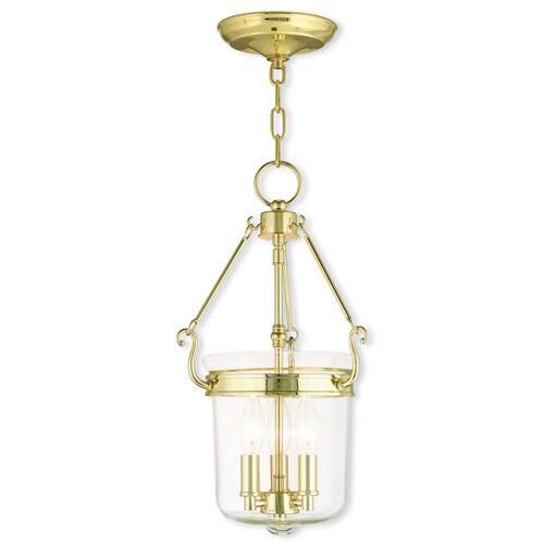 Livex Lighting Rockford 3 Light Polished Brass Pendant