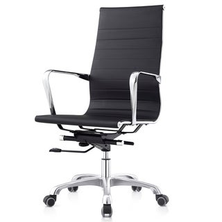 Ribbed Black Leatherette High-back Executive Office Chair