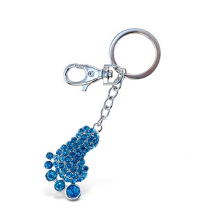 Puzzled Sparkling Charms Blue Foot Keychain