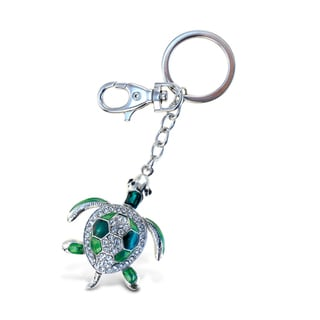 Puzzled Green Sea Turtle Metal Sparkling Charm