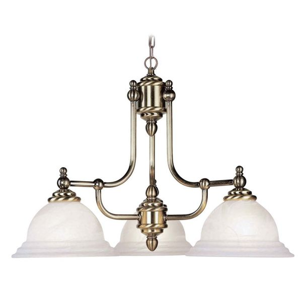 Livex Lighting North Port 3 Light Antique Brass Chandelier