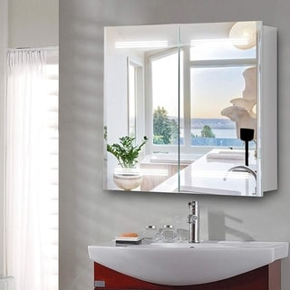 Vanity Art 26-Inch Rectangle LED Lighted Illuminated Vertical Bathroom Vanity Mirror Wooden Medicine Cabinet with Rock Switch