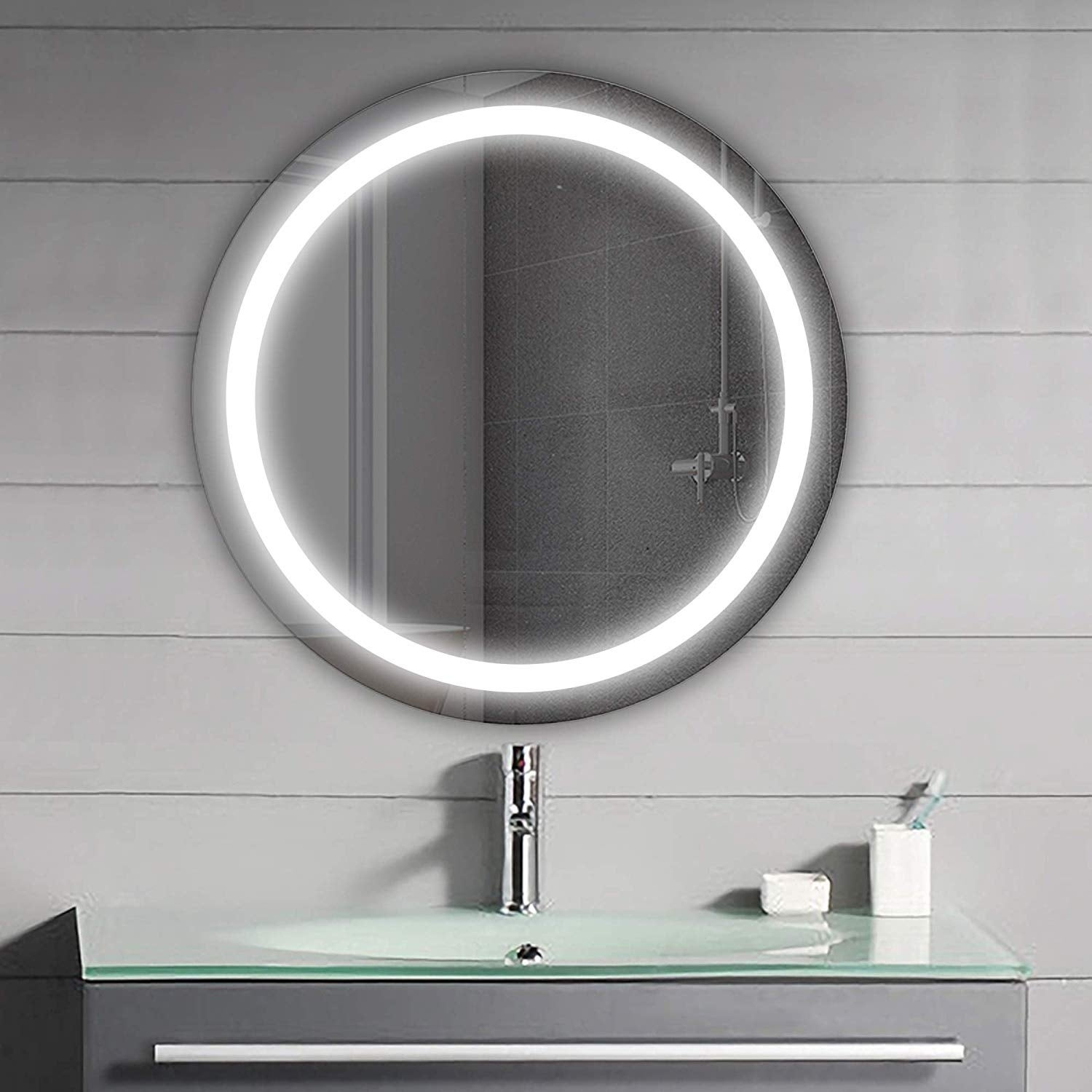 Vanity Art 24 Frameless Round Led Lighted Illuminated Vertical Bathroom Vanity Wall Mirror With Sensor Switch Clear Overstock 12364408