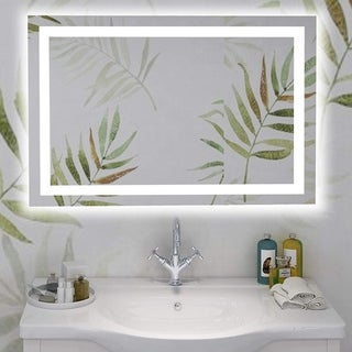 Vanity Art 39-Inch LED Lighted Illuminated Bathroom Vanity Wall Mirror with Sensor Switch, Vertical Rectangle White Mirror