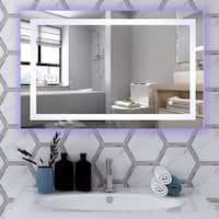 Vanity Art 39.5-Inch LED Lighted Illuminated Bathroom Vanity Wall Mirror with Sensor Switch, Blue & White LED - Clear - 39.5
