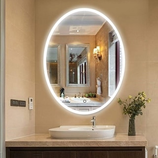 Vanity Art 24 Inch Round LED Lighted Illuminated Vertical Bathroom Vanity Wall Mirror Wooden Frame with Sensor Switch