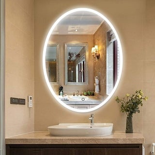 Vanity Art 24 Inch Oval LED Lighted Illuminated Frameless Bathroom Vanity Wall Mirror with Touch Sensor - Clear
