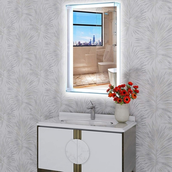 """Vanity Art 31"""" LED Lighted Illuminated Bathroom Vanity Glass Enclosed Wall Mirror with Touch Sensor , Vertical Rectangle Mirror"""