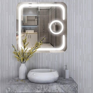 Vanity Art 31-Inch LED Lighted Illuminated Bathroom Vanity Wall Mirror with Touch Sensor, Magnifying Glass - Clear - A/N