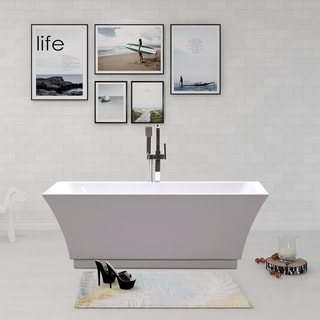 "Vanity Art 66.5"" Freestanding Acrylic Bathtub Modern Stand Alone Soaking Tub with Chrome Finish Slotted Overflow & Pop-up Drain"