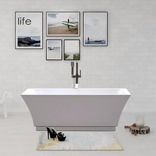Vanity Art 66.5-inch Freestanding Acrylic Soaking Bathtub