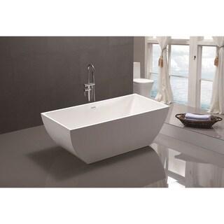 Vanity Art White Acrylic 66.5-inch Freestanding Soaking Bathtub