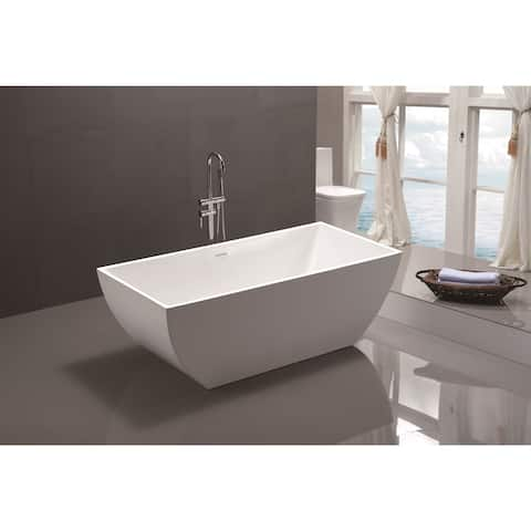 """Vanity Art 67"""" Freestanding Acrylic Bathtub Modern Stand Alone Soaking Tub with Chrome Finish Slotted Overflow & Pop-up Drain"""