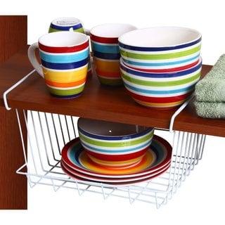 Ybm Home #2080 White Coated Stainless Steel 12-inch Under-shelf Storage Organizer Basket, Kitchen Pantry Wrap Rack