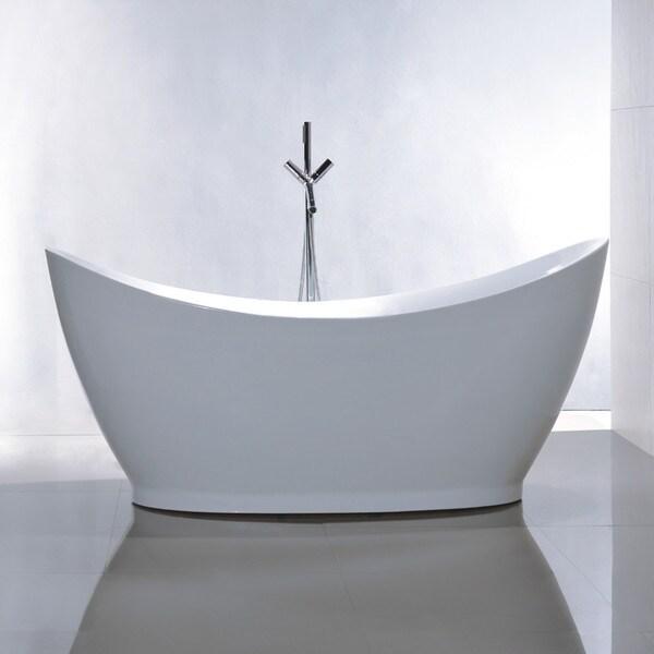Vanity Art White Acrylic 67.5-inch Freestanding Soaking Bathtub ...