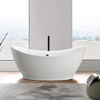 "Vanity Art 68"" Freestanding Acrylic Bathtub Modern Stand Alone Soaking Tub with Polished Chrome Round Overflow & Pop-up Drain"