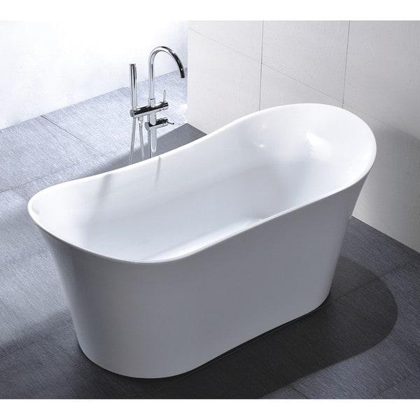 Shop Vanity Art 67 Inch Freestanding Acrylic Soaking Bathtub Free