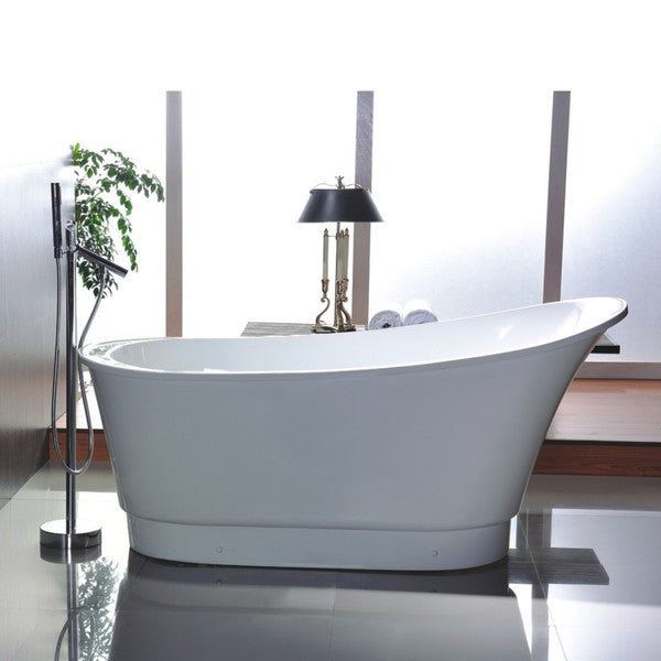 Shop Vanity Art 67-inch Acrylic Freestanding Soaking Bathtub - Free ...