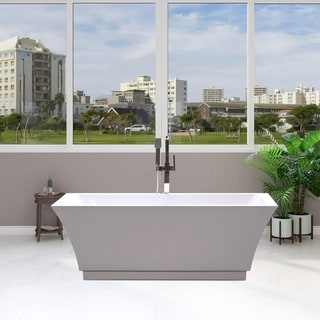 Vanity Art 59-inch Freestanding Acrylic Soaking Bathtub