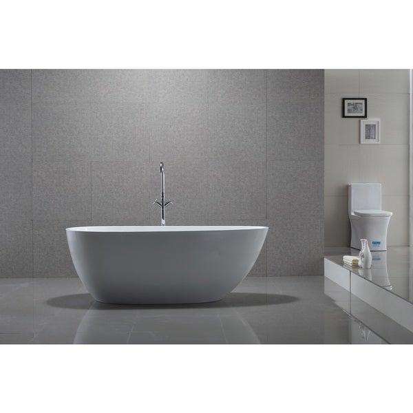 Vanity Art White Acrylic 59-inch Freestanding Soaking Bathtub ...