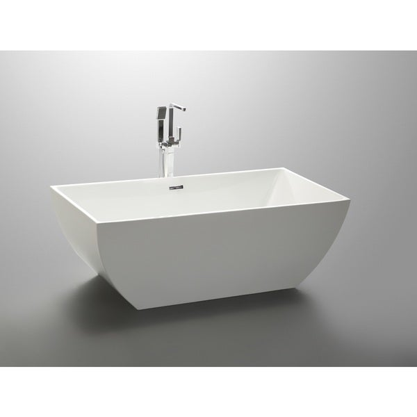 Nice Vanity Art 59 Inch Freestanding Acrylic Soaking Bathtub   Free Shipping  Today   Overstock.com   19190642