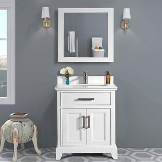 Vanity Art 30-Inch Single Sink Bathroom Vanity Set White Phoenix Stone Top 1 Drawer, 1 Shelf Undermount Sink with Free Mirror