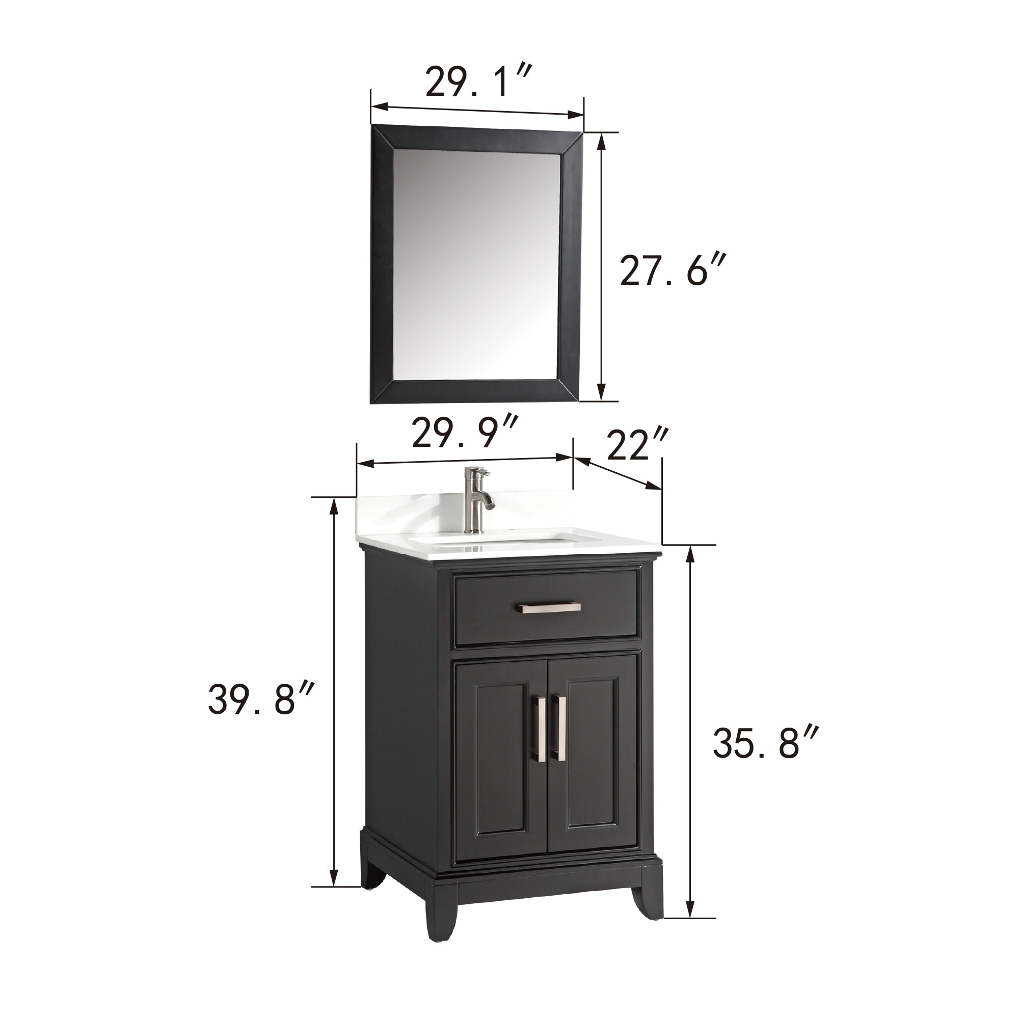 Vanity Art 30 Inch Single Sink Bathroom Vanity Set White Phoenix Stone Top 1 Drawer 1 Shelf Undermount Sink With Free Mirror On Sale Overstock 12364440