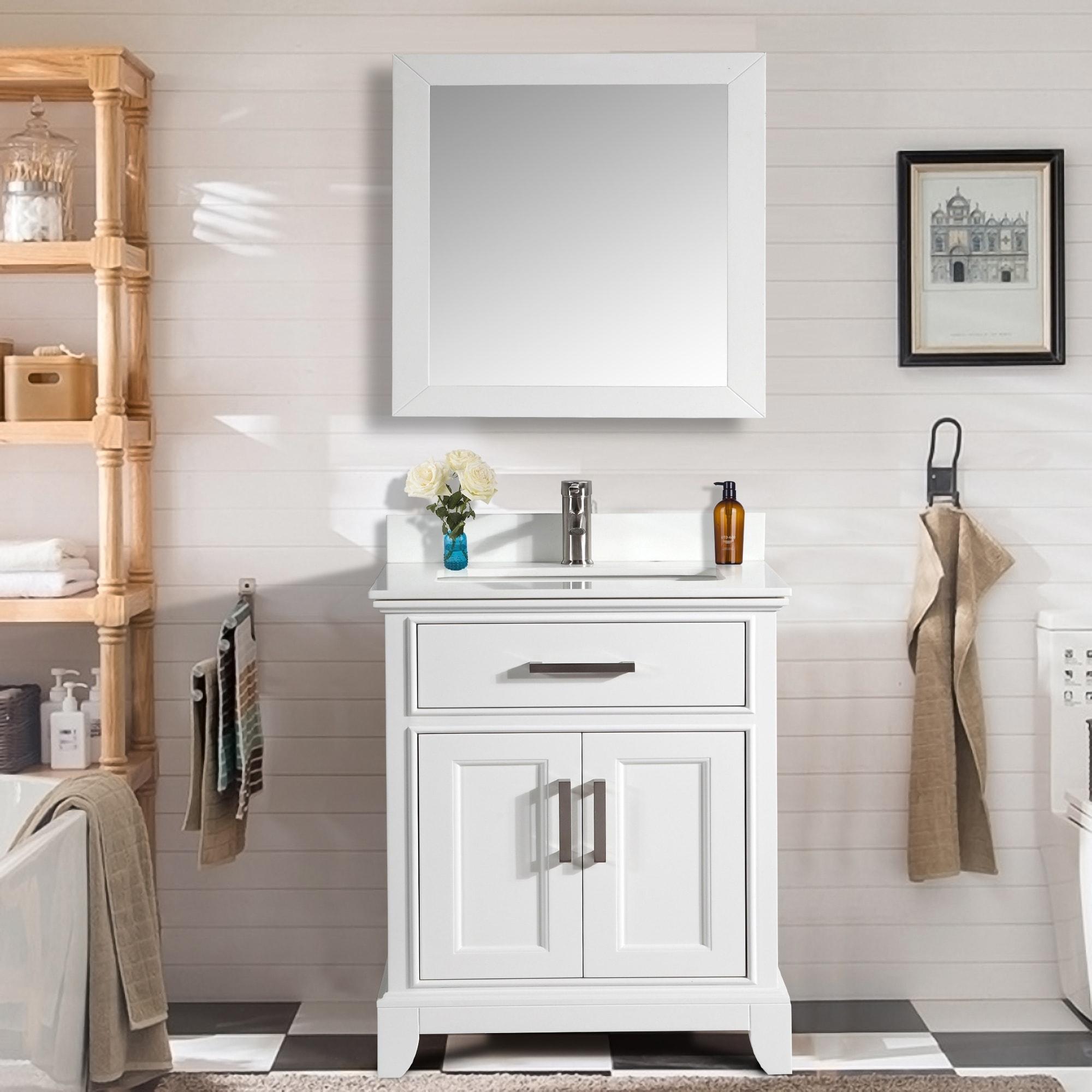 Vanity Art 30 Inch Single Sink Bathroom Vanity Set White Phoenix Stone Top 1 Drawer 1 Shelf Undermount Sink With Free Mirror Overstock 12364440