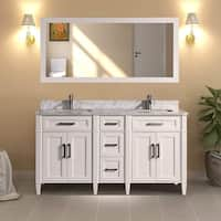 Vanity Art 60-inch Double Sink Bathroom Vanity Set With Carrara Marble Top