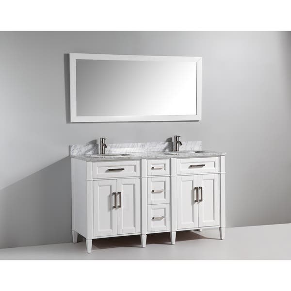 VA2060-DE Vanity Art 60 Inch Double Sink Bathroom Vanity Set Carrara Marble Stone Soft Closing Doors Undermount Rectangle Sinks with Free Mirror