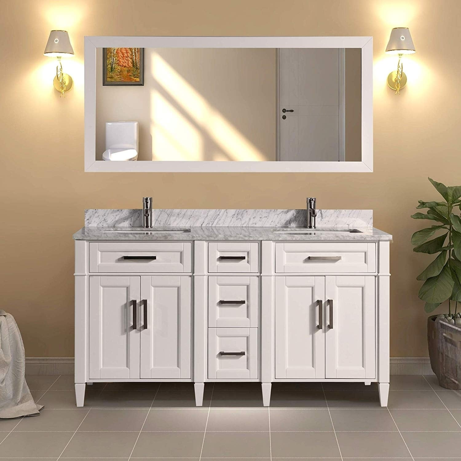 Shop Black Friday Deals On Vanity Art 60 Inch Double Sink Bathroom Vanity Set Carrara Marble Stone Top Soft Closing Doors Undermount Sink With Free Mirror Overstock 12364442