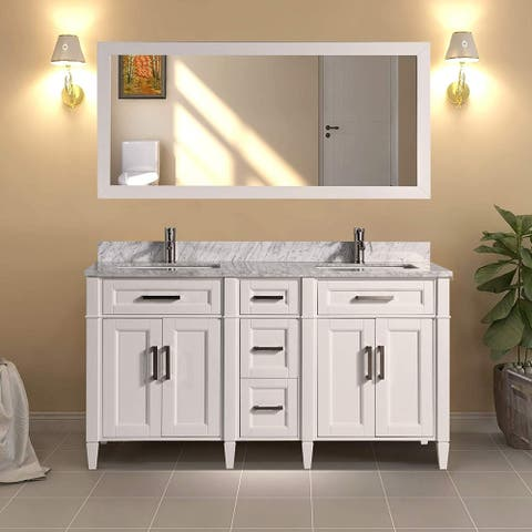 Vanity Art 60-Inch Double Sink Bathroom Vanity Set Carrara Marble Stone Top Soft Closing Doors Undermount Sink with Free Mirror