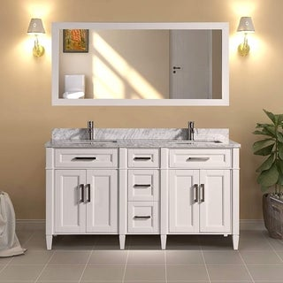 Vanity Art 60-Inch Double Sink Bathroom Vanity Set Carrara Marble Stone Top Soft Closing Doors Undermount Sink with Free Mirror