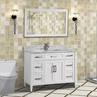 Vanity Art 48-Inch Single Sink Bathroom Vanity Set with Carrara Marble Top