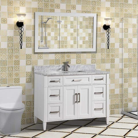 Vanity Art 48-Inch Bathroom Vanity Set with Carrara Marble Top