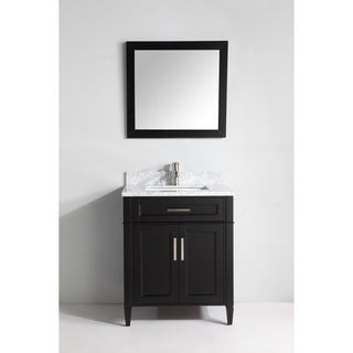 Vanity Art 30-inch Single Sink Bathroom Vanity Set with Carrara Marble Top